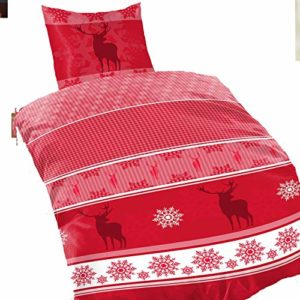 Traumhafte Bettwäsche aus Fleece - Weihnachten rot 155x220 von Bertels