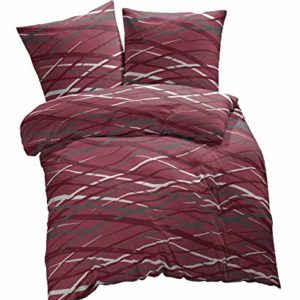 Kuschelige Bettwäsche aus Biber - rot 155x220 von Etérea