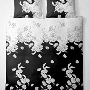 Hübsche Bettwäsche aus Renforcé - schwarz weiß 155x220 von Etérea