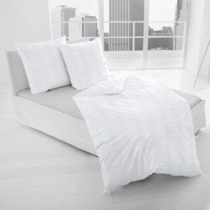 Kuschelige Bettwäsche aus Damast - weiß 155x220 von Dormisette