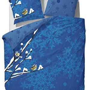Kuschelige Bettwäsche aus Flanell - blau 135x200 von Vanezza