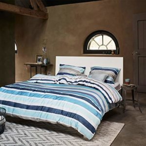 Traumhafte Bettwäsche aus Mako-Satin - blau 155x220 von Essenza Home