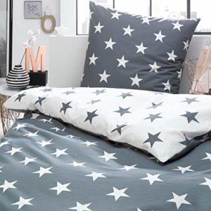 Schöne Bettwäsche aus Perkal - Sterne grau 135x200 von Trend