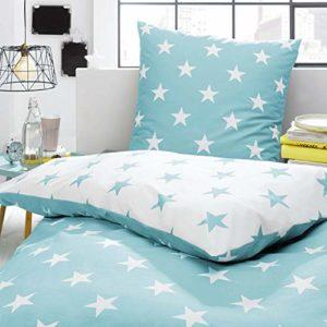 Kuschelige Bettwäsche aus Perkal - Sterne türkis 135x200 von Trend