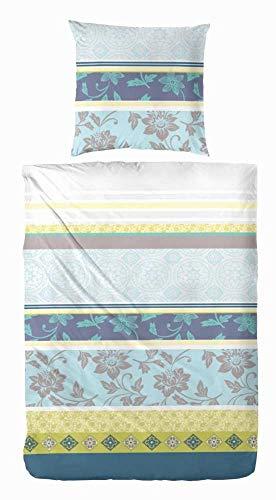 Hübsche Bettwäsche aus Renforcé - blau 135x200 von Primera