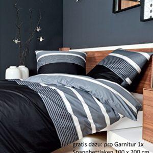 Traumhafte Bettwäsche aus Satin - schwarz 155x220 von Janine