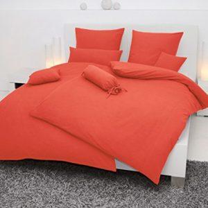 Hübsche Bettwäsche aus Seersucker - rot 155x200 von Janine Design