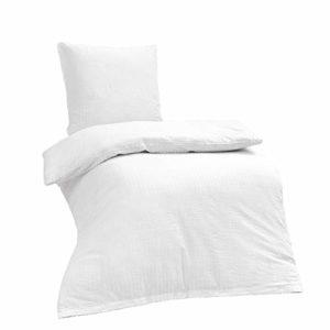 Kuschelige Bettwäsche aus Seersucker - weiß 135x200 von Bettenpoint