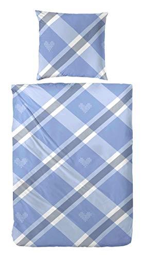 Hübsche Bettwäsche aus Biber - blau 135x200 von Hahn