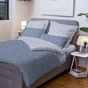 Kuschelige Bettwäsche aus Jersey - blau 135x200 von TOM TAILOR