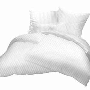Kuschelige Bettwäsche aus Damast - weiß 155x200 von Carpe Sonno