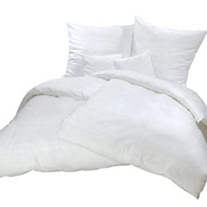 Hübsche Bettwäsche aus Seersucker - weiß 220x240 von Carpe Sonno
