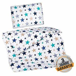 Traumhafte Bettwäsche aus Linon - Sterne blau 100x135 von Aminata Kids - Ihr Bettwäsche Spezialist